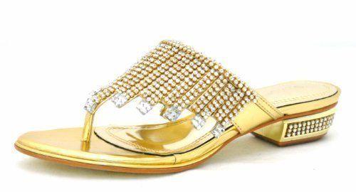 Damen Sandalen Diamant Zehentrenner Ball Party Abend Hochzeit Schuhe Flach Kleiner Absatz - M46 - Synthetik, Gold, EU 36: Amazon.de: Schuhe ...