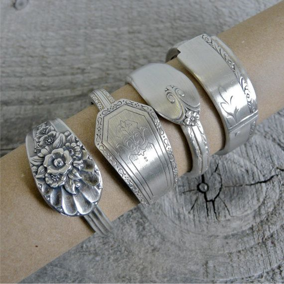 Napkin Rings, Handmade from Antique Silverware, Spoon Napkin Rings, Set of 4, Lot 6 on Etsy, $41.22 CAD