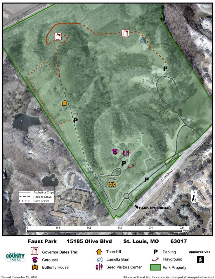 Faust park is home to Governor Bates' Trail, a 1 mile steep natural treadway for hikers only. For more information: http://www.stlouisco.com/Portals/8/docs/Document%20Library/parks/PDFs/Trail%20Guides/Faust%20Park%20Trail%20Guide.pdf #stlcotrails
