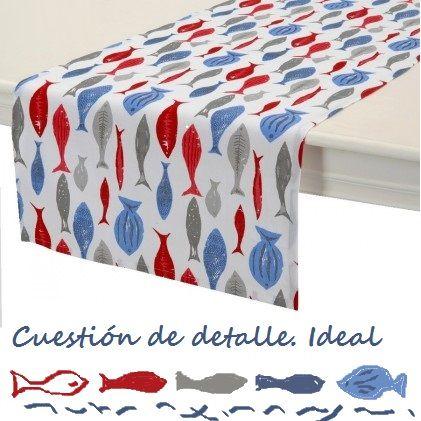 Camino de mesa náutico azul, rojo y blanco (150x50) de algodón.