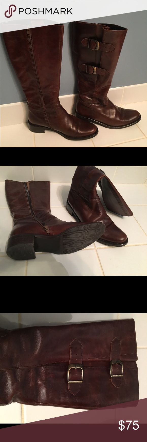 "Gabor Tall Boots size 7.5/8 Gabor Tall boots.  Believe the style is called ""Jenny"". Color is a dark brown.  They are listed as US size 6.5 but this seems to be an error. I wear a 7.5 and they fit me fine. Buckle can be adjusted to fit a wide calf. Maybe worn once. gabor Shoes Heeled Boots"