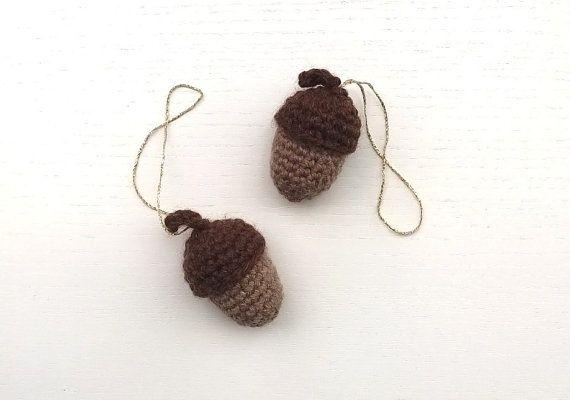 Crochet Acorns Holiday Décor Set of 2 by AGirlNamedMariaDK on Etsy