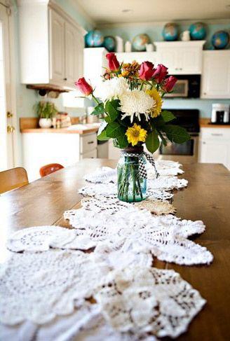maak zelf een mooie kanten tafelloper