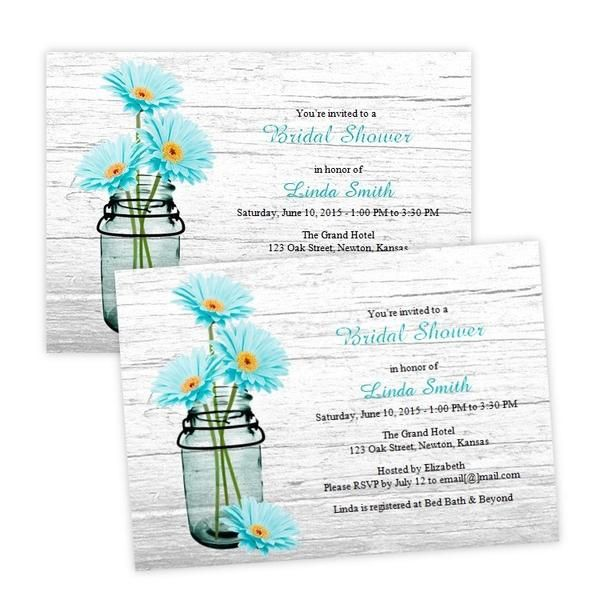Country bridal shower invitation featuring aqua daisies in a mason jar. This design can also work for other occasions such as birthdays, anniversaries, or baby shower by editing the text. ***This is a DIGITAL file for instant download after your purchase is complete.*** The link to download the file will be in the email that you receive after your purchase is complete. It's so easy! Just download the file and save on your computer. Open in Microsoft Word and edit the text with your info...