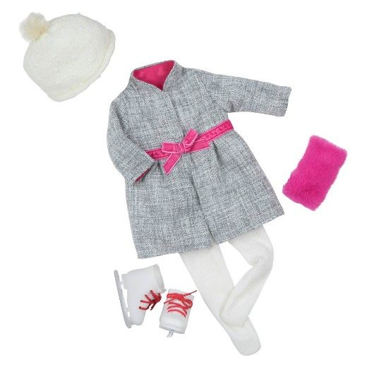 "• Durable cotton and polyester construction  • Includes winter outfit and skating accessories  • Sized for 18"" dolls    For the super little skater in the family, their Our Generation Deluxe Coat and Skates Outfit is perfect for their little 18"" friend. The beautiful coat with matching pink lining, muff, ribbon belt and skate laces will put her on the best-dressed-skater—and most fun doll—list."