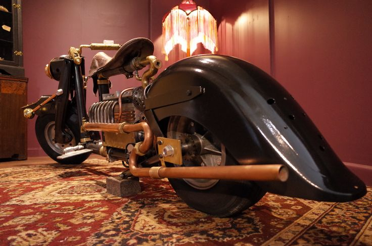 """""""The Abyss Rider"""" a 200cc Straight Eight Rotary Valve built by Mark Walker. Australia. On Display in the Antipodean Tynker. Walcha. Australia. #Steampunk#Motorcycle#Scooter"""