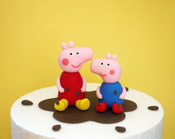 Fondant Peppa Pig Cake Topper Fondant Peppa by SugarDecorByLetty
