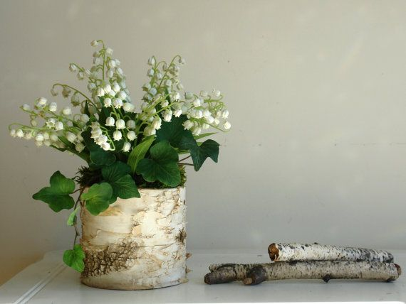 lily of the valley in birch bark vase arrangement, wedding centerpieces party favors for a bridal shower, thank you Mother's day gift