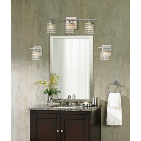 Model Chrome And Crystal Bathroom Light Fixtures Make This Room Extra