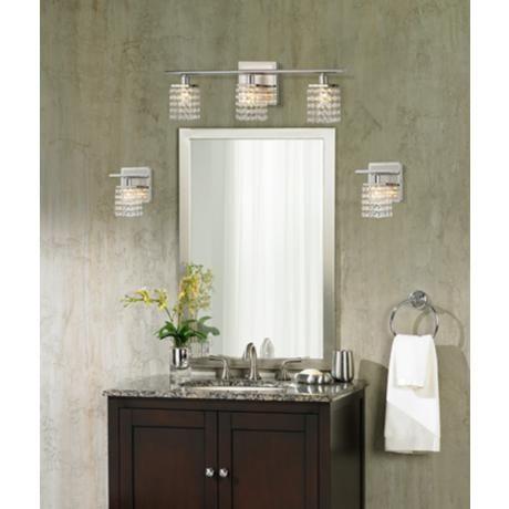 Sparkle chrome 23 1 4 wide crystal bathroom light fixture for Bathroom crystal light fixtures