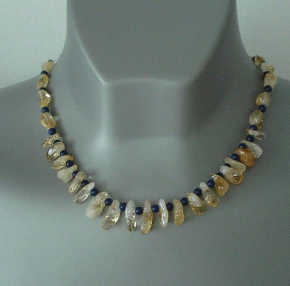 12 best mybeads images on pinterest anklet bangle bracelets and genuine citrine and lapis lazuli necklace natural gemstone egyptian jewelry november birthstone fandeluxe Images