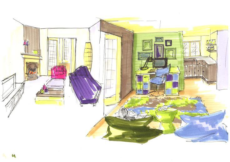 Vrije hand sfeerschetsen 30 jaren woning, vrij ontwerp door Ria Bernards, Ridesign