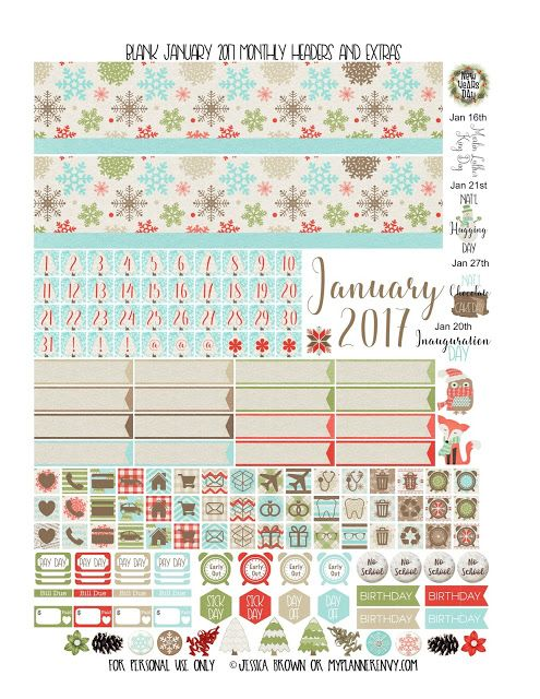 January 2017 Monthly Headers and Extras for any planner from myplannerenvy.com