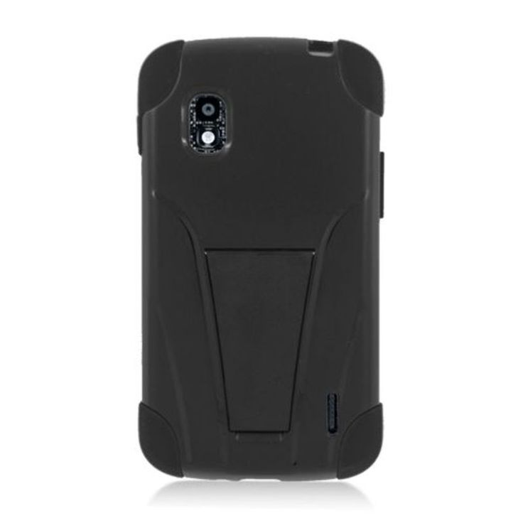 Insten Hard PC/ Silicone Dual Layer Hybrid Case Cover with Stand For LG Google Nexus 4 #2318732