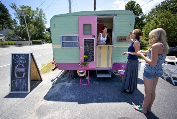 Love this idea! Anna Turcotte welcomes customers to Love Cupcakes, a business she operates out of a tiny trailer on Route 1 in Falmouth.