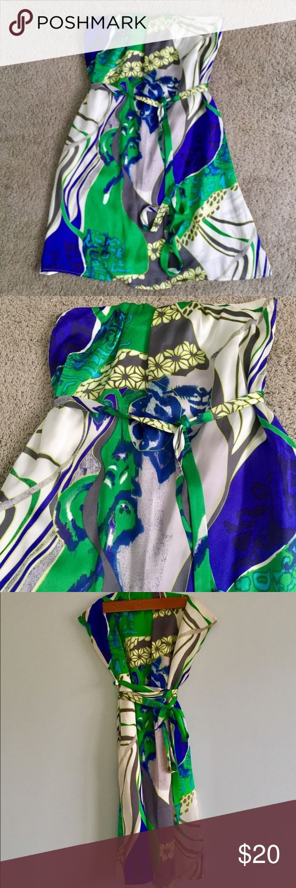 Strapless Tropical Print Dress Purchased at a boutique in NYC. Worn 1x and has been dry cleaned. Fun dress for the summer, girl's night out, date night, etc. has a cloth belt to accentuate waist. Elasticated top - had no problems with slipping. Size is large but I provided photos of measurements. No trade Dresses Strapless