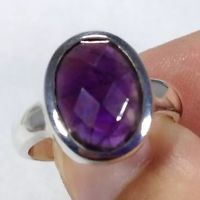 Amethyst faceted oval ring, solid Sterling Silver, uk size R, new, actual one.