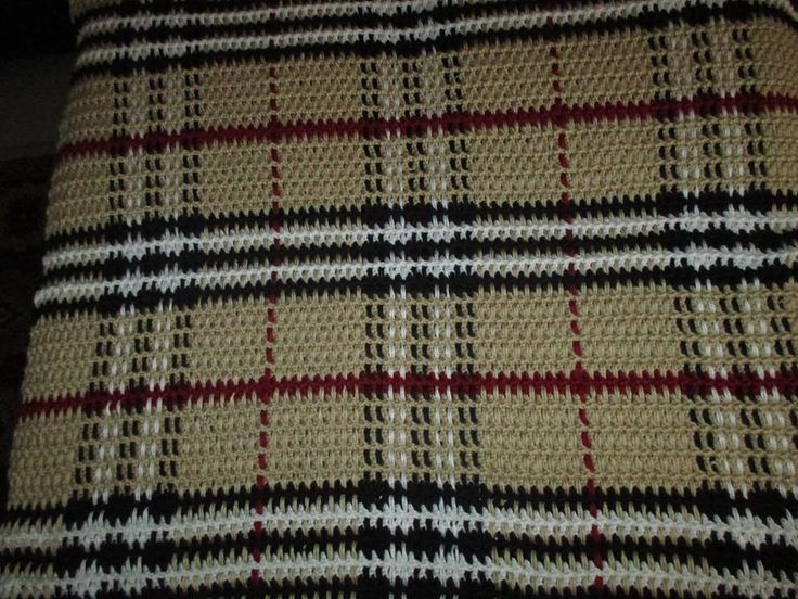 Burberry Baby Blanket by Faythe Saxton crochet tartan