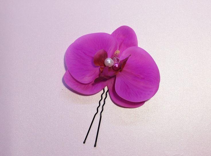 Bijou de cheveux Orchidée rose fushia mariée mariage soirée pic accessoire coiffure : Accessoires coiffure par tendancebijoux