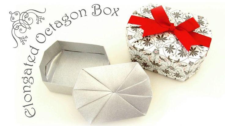 """長八角の箱 折り方 """"Elongated Octagonal Box"""" One-sheet Origami"""