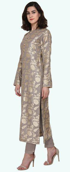 Lilac Grey Zari Jamawar Banarasi Hand Woven Pure Silk Suit