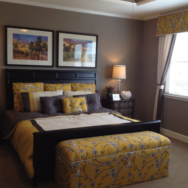 Bedroom...love The Colors. Grey, Yellow, Black U0026 White.