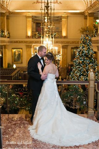 A holiday wedding in a Historic Downtown Milwaukee Hotel. Pfister Hotel Weddings.