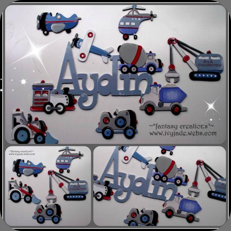 transport  signs for kids... custom made...you choose fonts, design, colors, size ivyjade.webs.com