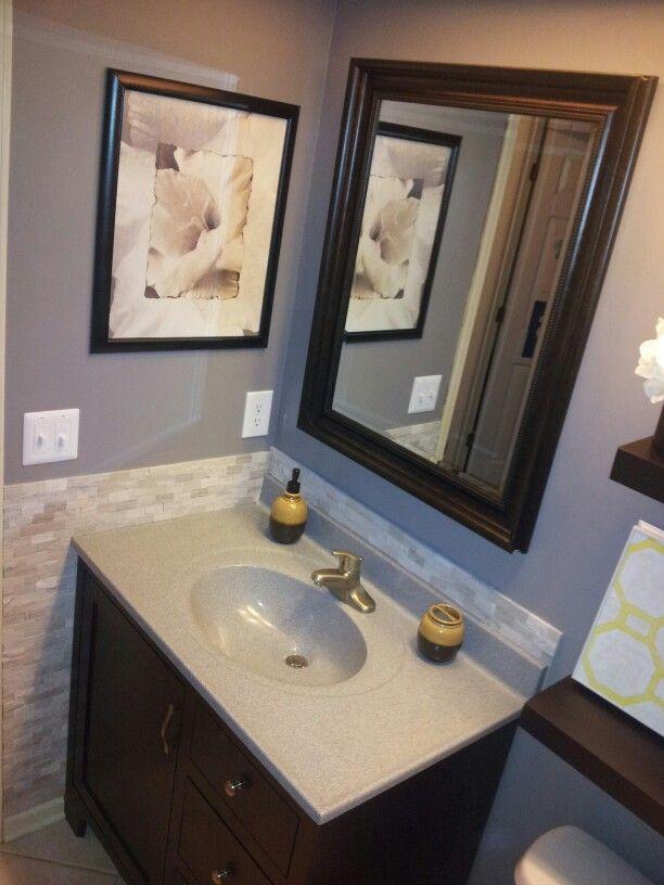 Tile Backsplash For Bathroom In 2019 Bathroom Renos Small Bathroom Renovation