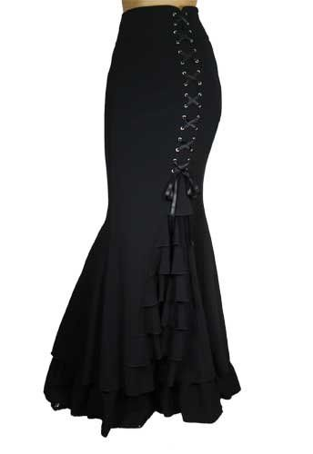 -Rainy Night in London- Victorian Gothic Ruffle Steampunk Vintage Style Skirt at Amazon Women's Clothing store: