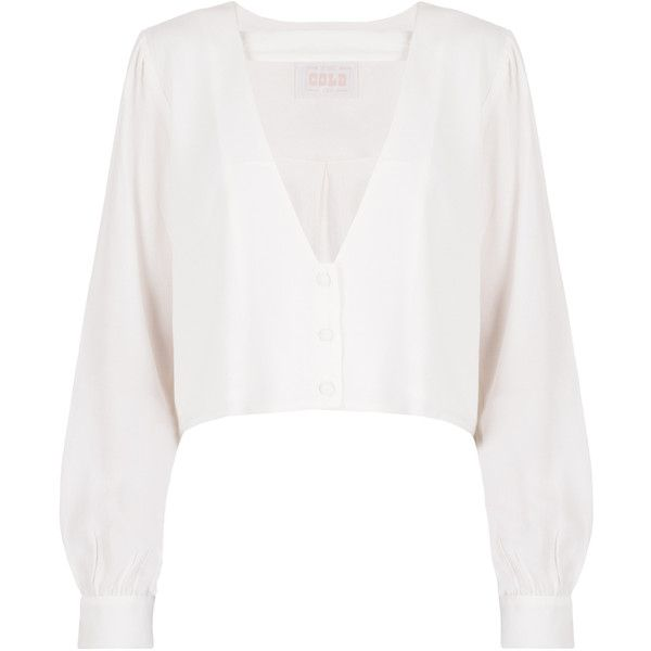 Stone Cold Fox Shrine Blouse ($200) ❤ liked on Polyvore featuring tops, blouses, button down crop top, strappy crop top, white button up blouse, white collared blouse and white long sleeve blouse