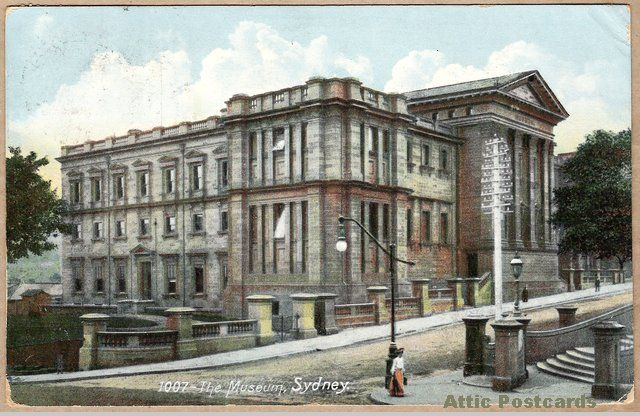 Vintage postcard of the Museum in Sydney, New South Wales, Australia. (Now the Australian Museum.) Printed in Germany.