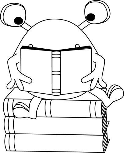 Black and White Two-Eyed Monster Reading Clip Art - Black and White Two-Eyed Monster Reading Image