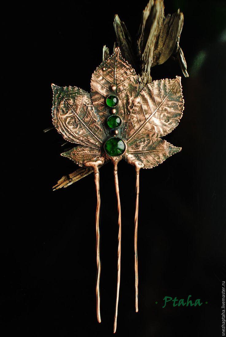 """Купить гребень""""Каштан"""" - зеленый, шпильки для волос, гребень для волос, медный гребень, медный лист, гальваника"""