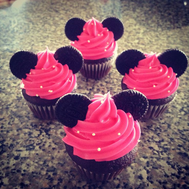 Minnie Mouse Mini Cupcakes. Chocolate Cake with Pink Buttercream Icing.