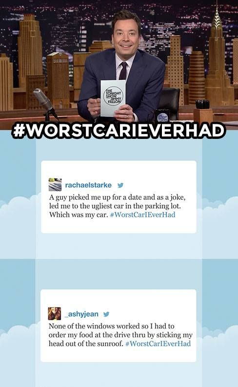 The Tonight Show Starring Jimmy Fallon Page Liked · 2 hrs ·     Jimmy reads his favorite #WorstCarIEverHad tweets! Have a story about the worst car you've ever had? Share it below!   WATCH: https://www.youtube.com/watch?v=HYw9cV1cQxs