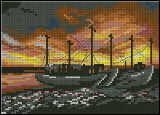 Рыбацкие лодки - схема вышивки крестом скачать бесплатно