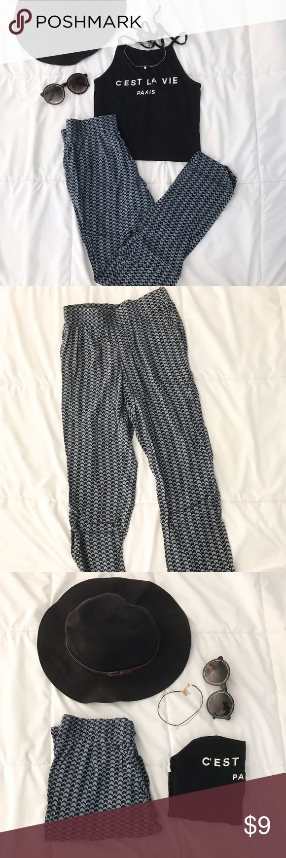Aztec Designed Flowy Pants A very stylish pair of flowy pants. In great condition and so soft! Hat is also for sale! H&M Pants Jumpsuits & Rompers