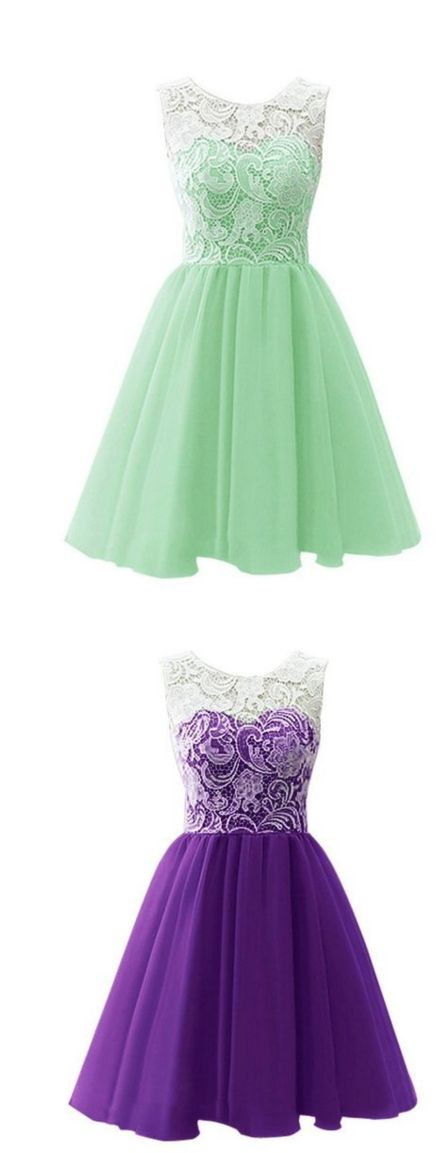 Top Selling Cute Mint Handmade Lace Homecoming Dresses For Teens from…