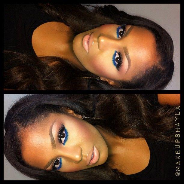 ....Makeup of the Day...eye info in previous post. Armani luminous silk foundation. Nars Mata Hari blush. Lips: mac cork lip liner, honey love lipstick  love the blue!