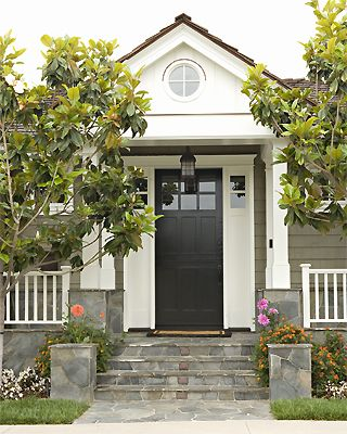Stone work + craftsman door + lantern pendant: Stones Step, Front Doors Colors, Houses Hunters, Black Doors, Black Front Doors, Side Colors, Curb Appeal, Grey Houses, Front Porches
