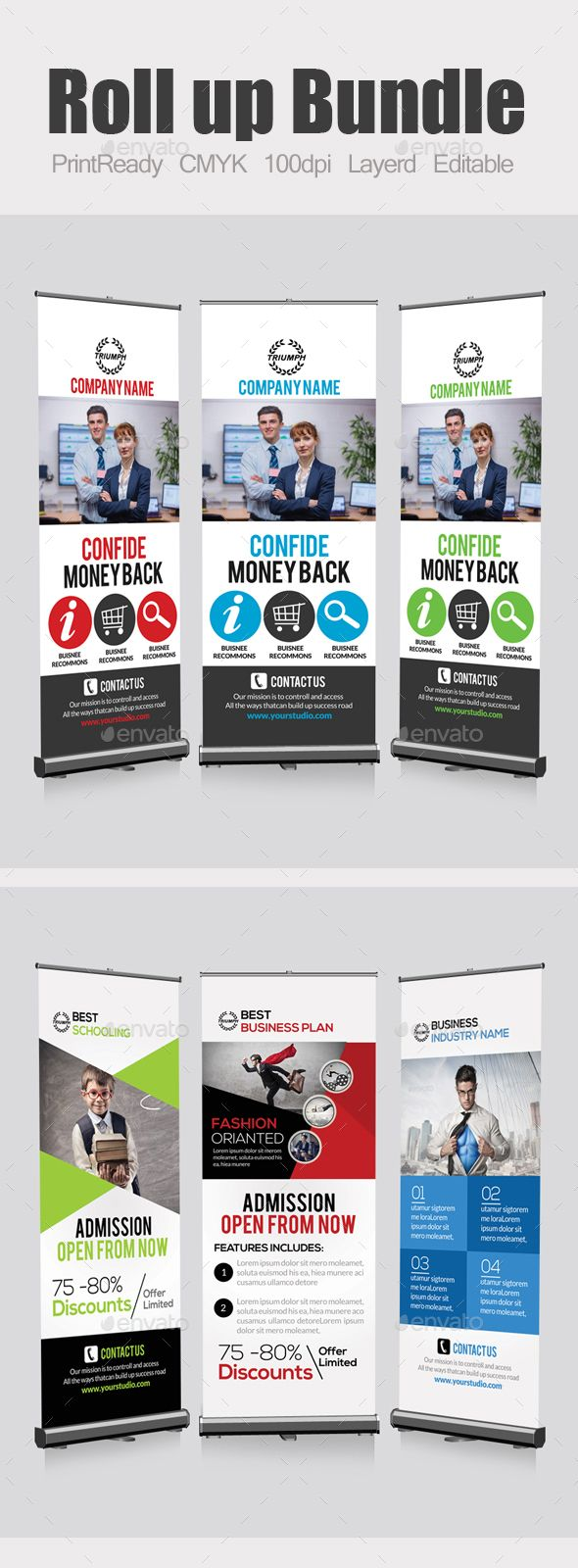 Business Roll Up Banners Bundle PSD Template #design Download: http://graphicriver.net/item/business-roll-up-banners-bundle/13081587?ref=ksioks
