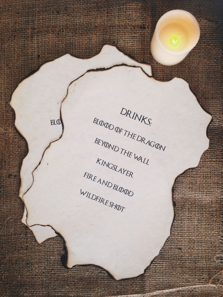 Game of Thrones Party Set - GOT Drinks Menu
