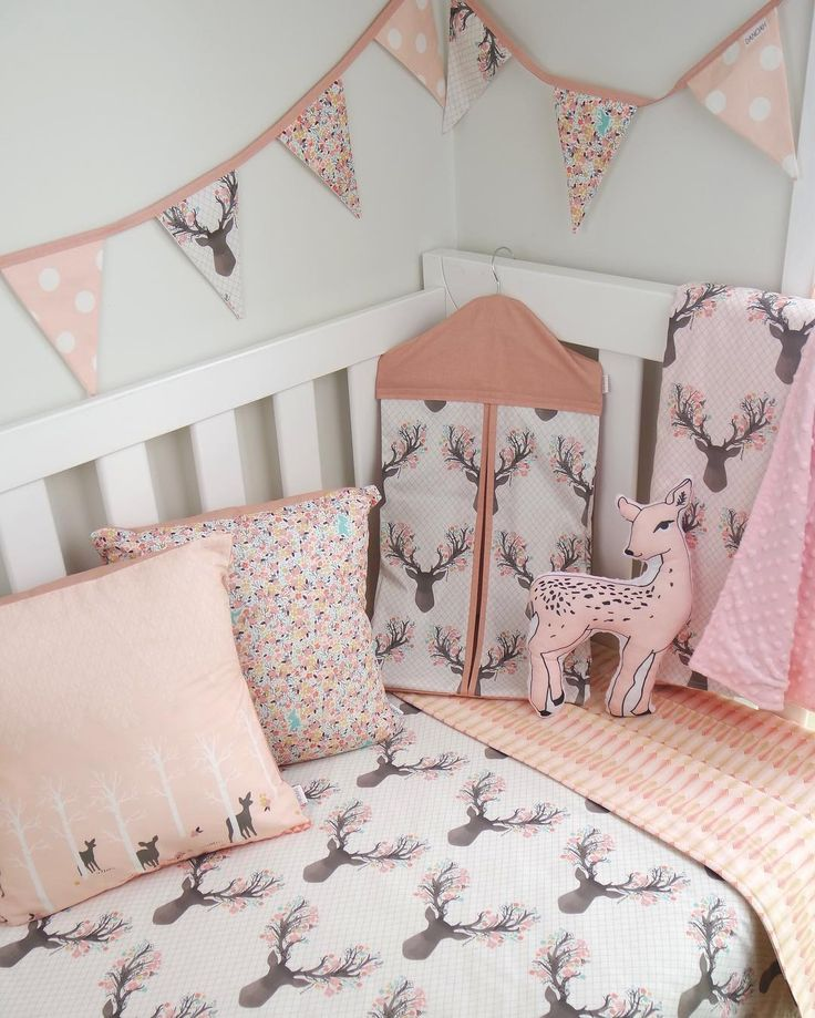 pink deer nursery set by danoahbaby featuring fawn fabric by hawthorne threads