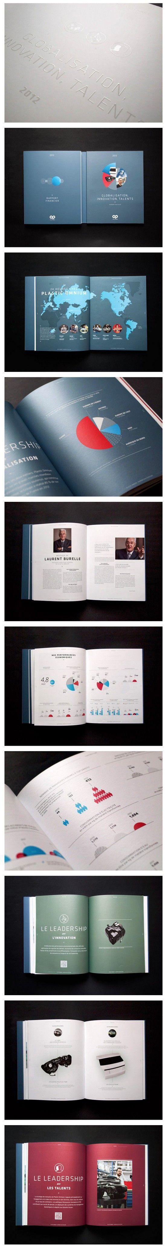 Plastic Omnium Annual Report 2012 on Behance - Gevalletje, maak je jaarrapport wat sprankelender, kleurrijker en origineler.