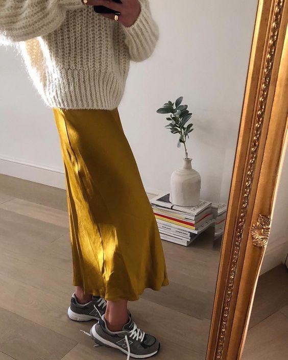 Silk skirt midi lengthy fall look yellow a-line skirt outfit Silk slip bias saffron put on road type appears Silk fall developments lengthy ladies skirt