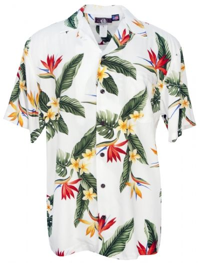 BOP Plumeria Mens Hawaiian Aloha Shirt in White