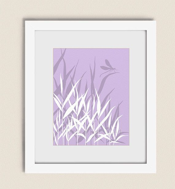 Grass Art, 11 x 14 Dragonfly Print, Lavendar Purple Living Room Wall Art, Nature Home Decor (55)