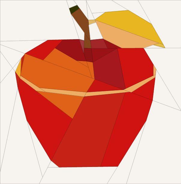 "Apple Festive Season Theme 6"" (16cm) blocks quiltartdesigns.blogspot.com"