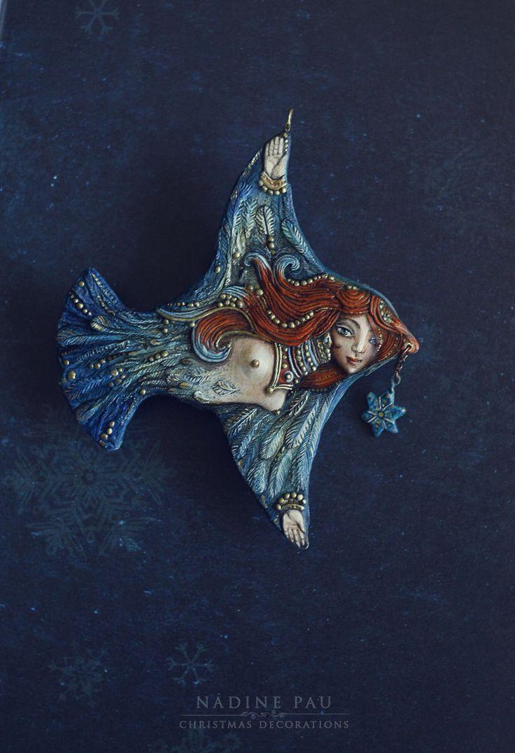 Papier-mâché, by Nadine Pau. Купить Птица - синий, птица, женщина, птица счастья, елочная игрушка, nadine pau
